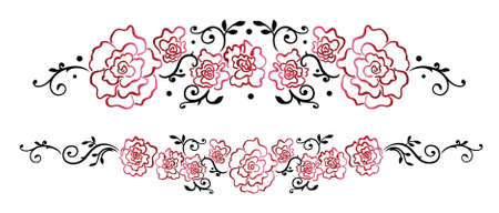 Garland with red roses and leaves. Illustration