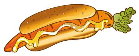 Veggie Hot Dog mit Karotte Essen für Vegetarier. Illustration