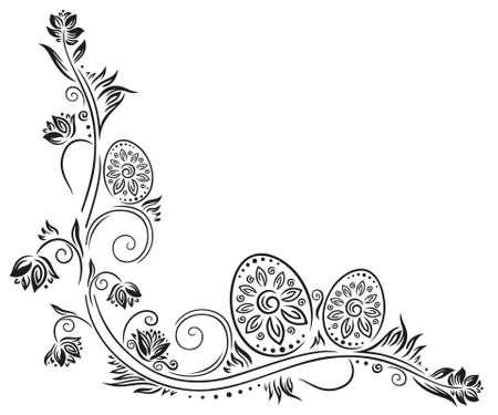 Easter eggs in meadow, filigree springtime decoration