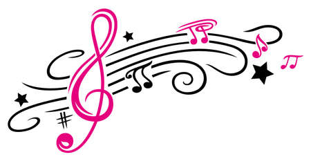 Clef with stars and music notes. Tribal and Tattoo style.