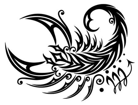 Astrological zodiac sign scorpio, tribal and tattoo style Illustration