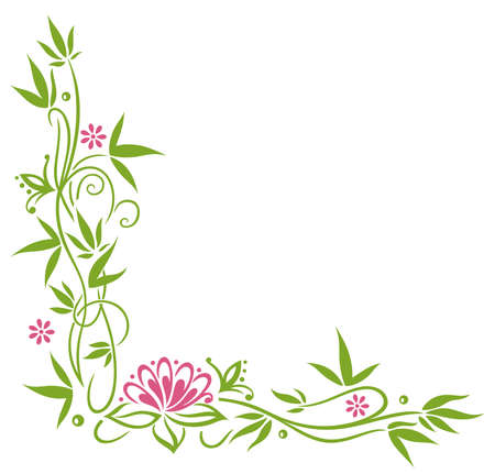 Bamboo with pink blossoms and lotus flower. Illustration
