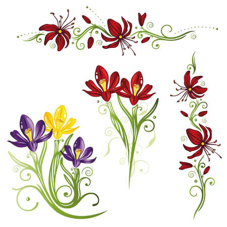 Colorful springtime flowers, vector set with crocuses