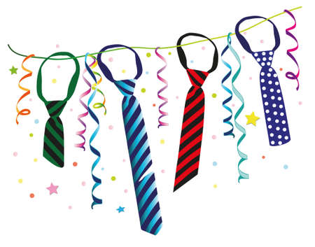 Karneval mit Krawatten, Streamer und Konfetti