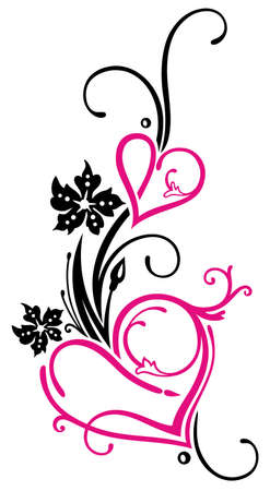 Filigree hearts with flowers, Valentines Day