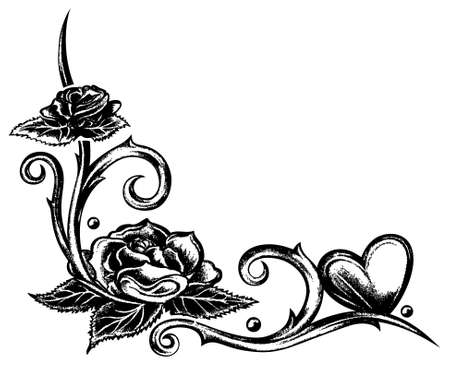Hand drawn tribal with heart and roses Illustration