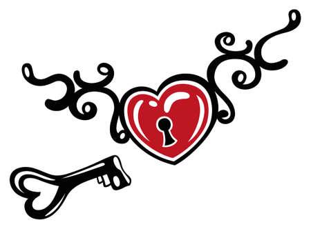 Heart with tribal, key and lock, tattoo art. Illustration