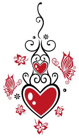 Filigrane Herzen mit Blumen und Schmetterlingen, Valentinstag Illustration