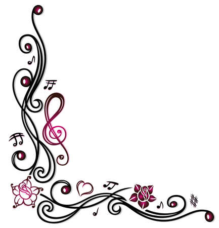 Music decoration with music notes, clef and pink flowers