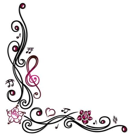 Musikdekoration mit Noten, Notenschlüssel und rosa Blüten