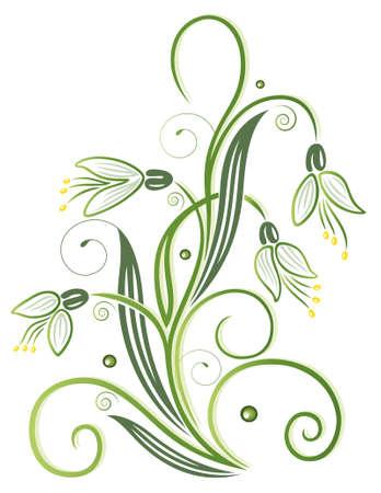 Frühlingsblumen, bunte Schneeglöckchen mit Strudeln