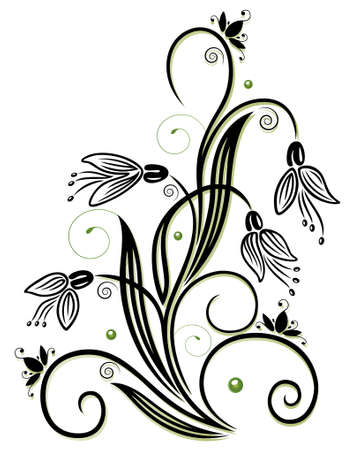 Spring time flowers, snowdrops with swirls Illustration