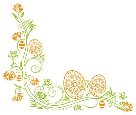 Easter decoration, easter eggs with springtime flowers