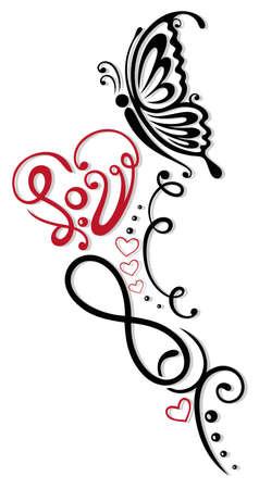 Unendlichkeit mit Herz und Schmetterling, Symbol der Liebe, Stammes- und Tattoo-Stil Illustration