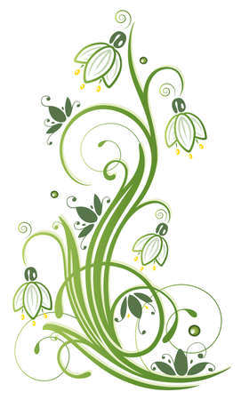 Spring time flowers, colorful snowdrops with swirls