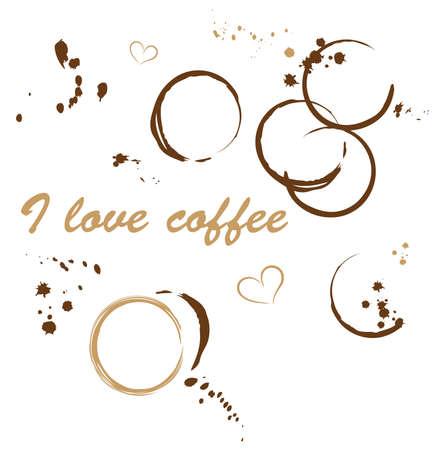 Ich liebe Kaffee, Kaffeeflecken. Illustration