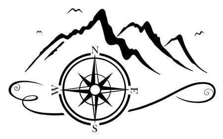Berge mit Kompass, geeignet für Wanderer, Bergsteiger und Bergsteiger