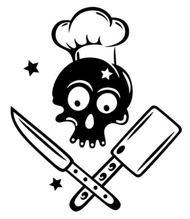 Schädel mit Kochen hat Sterne und Messer