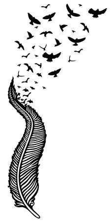 Große Feder, aus der viele Vögel fliegen