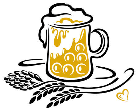 Bierglas mit Hopfen, Getreide und Herz. Oktoberfest Motiv