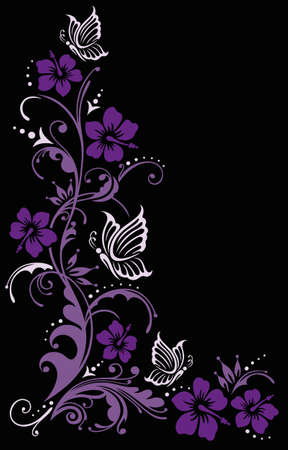 Colorful floral element with hibiscus blossoms and butterflies Illustration