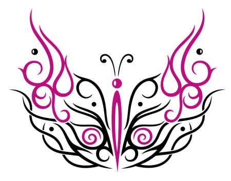 Großer filigraner Schmetterling, Stil und Tribal Tattoo.