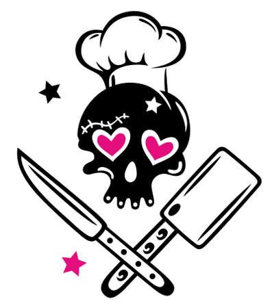 Schädel Girlie mit Kochen hat Herzen, Messer und Sterne. Illustration