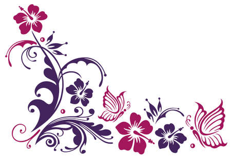 Floral ornament with hibiscus blossoms and butterflies.