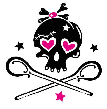 Schädel girlie mit Herzen, Sternen und Löffeln