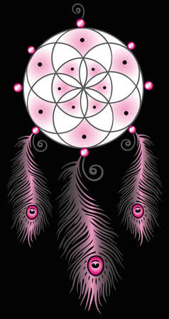 Great dreamcatcher with colorful feathers Illustration