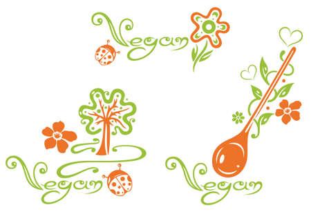 Gesundes Kochen, Vektor-Set, Herz, Blätter und Blumen Illustration
