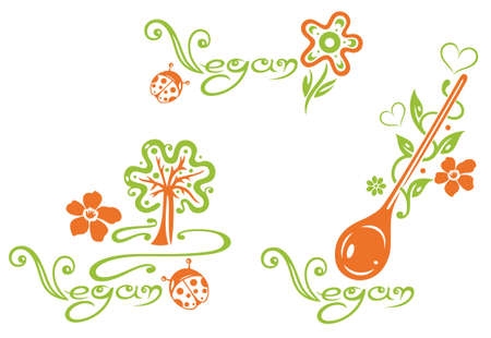 Healthy cooking, vector set, heart, leaves and flowers