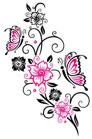 Blumenverzierung mit Kirschblüten und Schmetterlingen. Frühlingsblumen