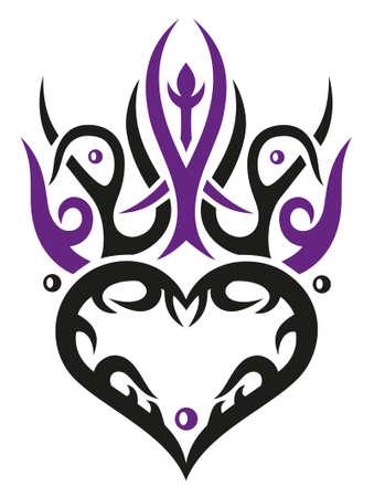 Herz mit Tribal Ornament, in der Liebe Illustration
