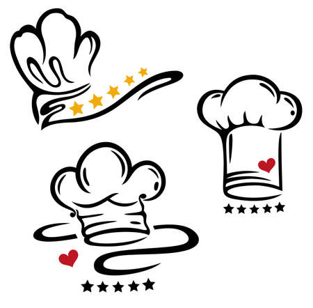 Cooking caps with five stars and heart. I love cooking