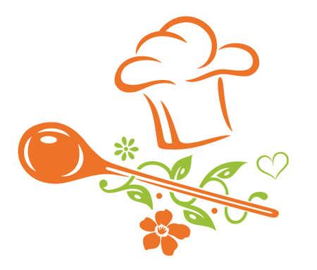 Gesundes Kochen, Kochen Hut mit Kochlöffel, Herz, Blätter und Blumen
