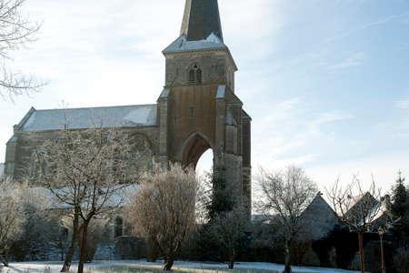 Old church Burgundy France in winter