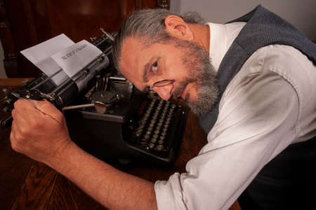Reporter with typing machine