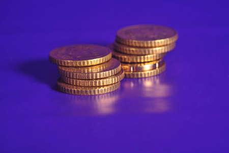 european coins close up
