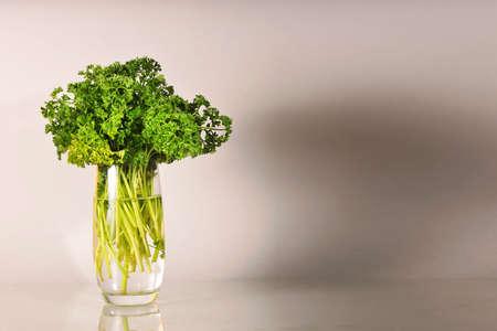 fresh parsley in a glass