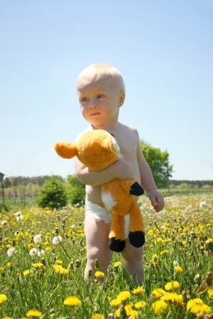 A cute baby boy stands in a field of dandelions, looking off in the distance while holding a stuffed deer animal. photo