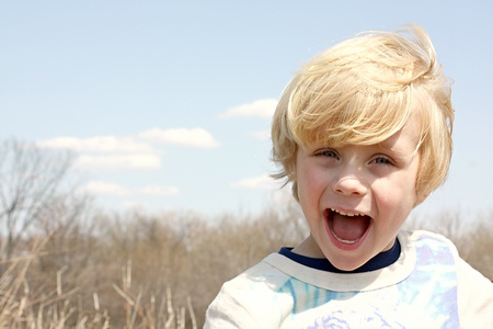 Happy Boy Outside Stock Photo