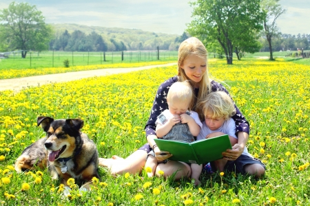 three story: a young attractive mother reads a story book to her two children while sitting outside in a meadow with their dog Stock Photo