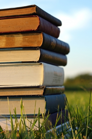 piled: a stack of several thick old books, novels, and Bibles are piled outside on the grass