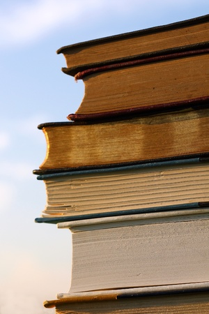 a stack of several old books, novels, and Bibles are piled outside with the blue sky behind them in the background photo