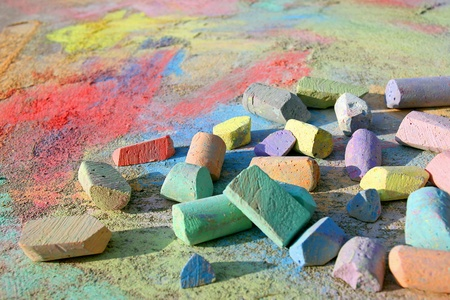 Colorful Chalk Scattered on Sidewalk Stock Photo - 21653105