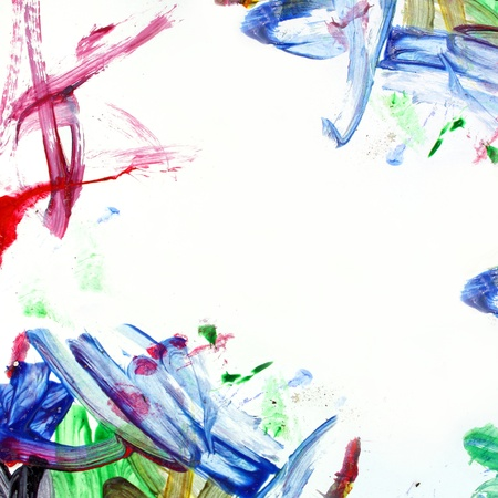 A background of square white paper, surrounded by corners that a child has painted in a messy manner