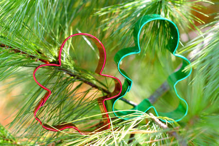 Red and Green Christmas cookie cutters of a gingerbread man and woman are holding hands in a white pine tree photo
