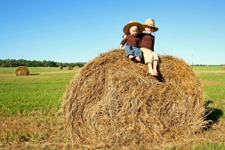 Two happy young children, a boy and his baby brother, are sitting on a hay bale in a field on a farm, wearing straw cowboy hats