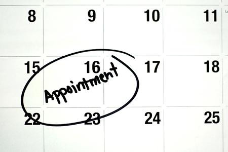 circled: la palabra cita se escribe con tinta negro y un c�rculo en un calendario de la p�gina montly blanco Foto de archivo